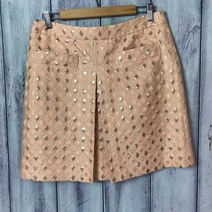 J. Crew Skirt Pink And Gold Silk Cotton Pleated